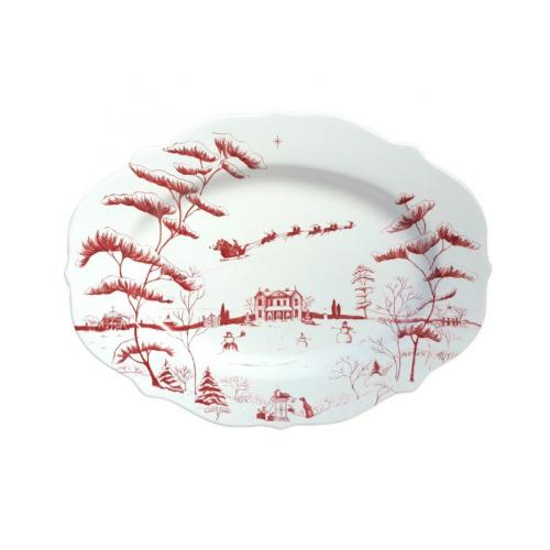 Country Estate Winter Frolic Ruby Serving Platter, Christmas Eve by Juliska