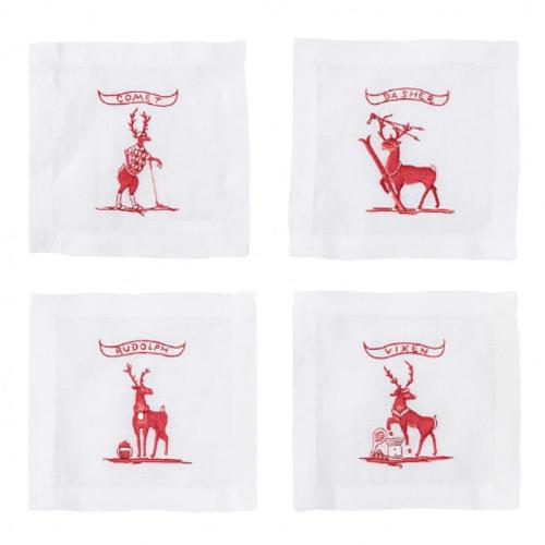 Country Estate Reindeer Games Solo Sports Cocktail Coasters Set of 4 by Juliska
