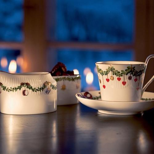 Star Fluted Christmas High Handle Cup & Saucer by Royal Copenhagen