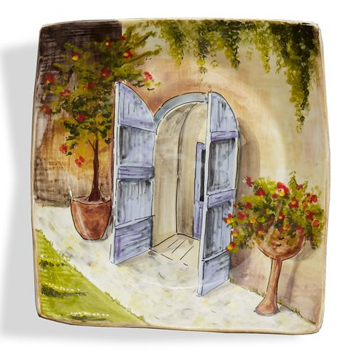 "Toscana 9.75"" Two Blue Doors Wall Plate by Arte Italica"