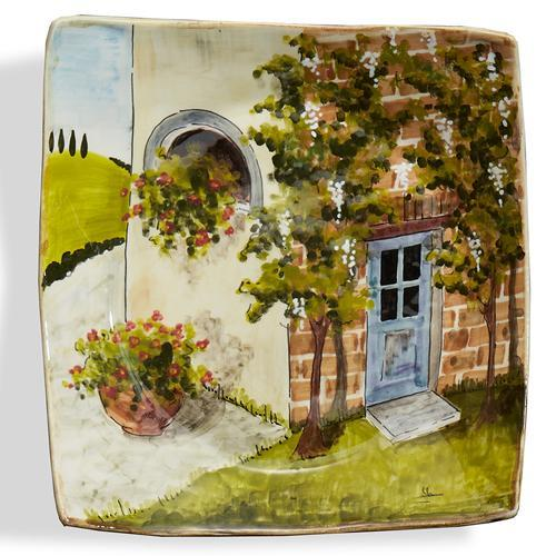 "Toscana 9.75"" Blue Door Wall Plate by Arte Italica"
