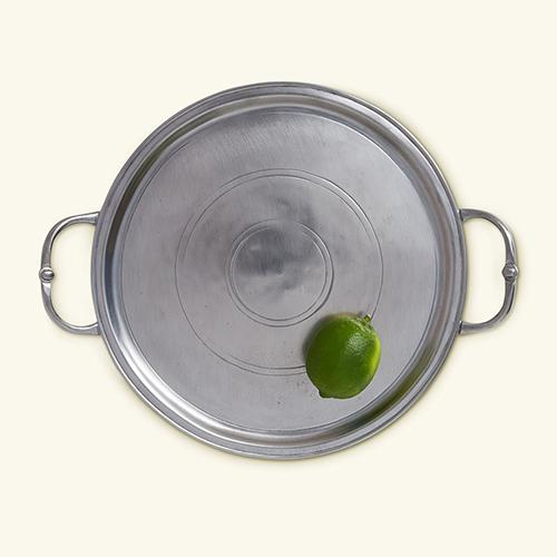"Small Round Tray with Handles, 10.25"" by Match Pewter"