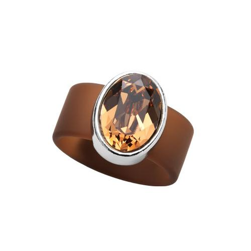 Topaz Swarovski on Brown Rubber Band Ring by Olivia Riegel