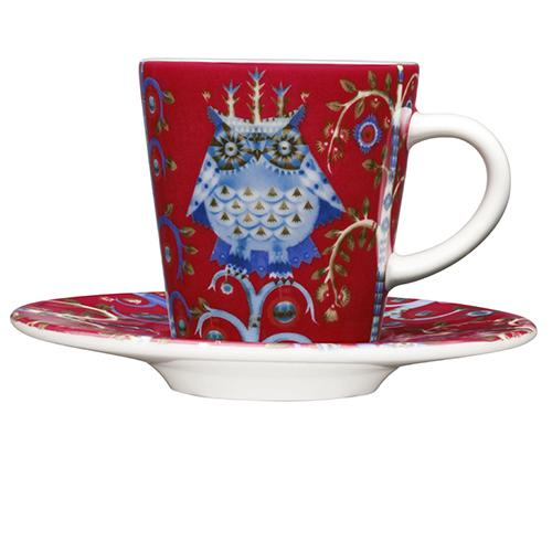 Taika Red Espresso Cup & Saucer Set by Iittala