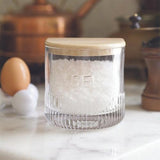 'Sel' French Depression Glass-Style Salt Box with Wood Lid