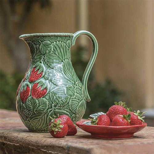 Strawberries Pitcher by Bordallo Pinheiro