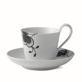 Black Fluted Mega High Handle Cup & Saucer by Royal Copenhagen