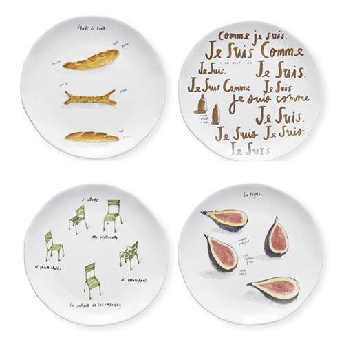 French Sketch Canape Plates, set of 4 by Rae Dunn