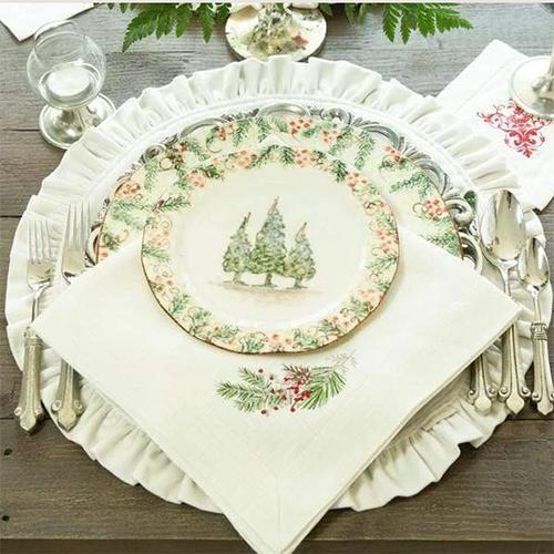 "Natale Sprig 22"" Square Linen Napkin, Set of 6 by Crown Linen Designs"