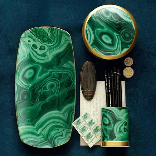 Malachite Rectangular Tray by L'Objet