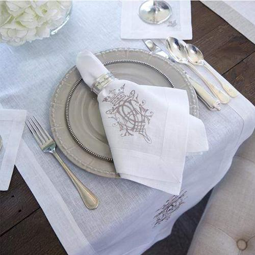 "Embroidered Royal Napkin, 19"", set of 6 by Crown Linen Designs"
