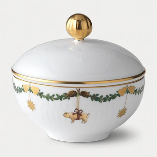Star Fluted Christmas Sugar Bowl with Lid by Royal Copenhagen