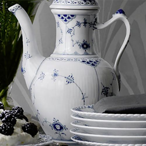 Blue Fluted Half Lace Covered Tureen by Royal Copenhagen