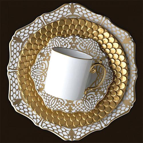 Alencon Gold Tea Cup & Saucer, Set of 2 by L'Objet