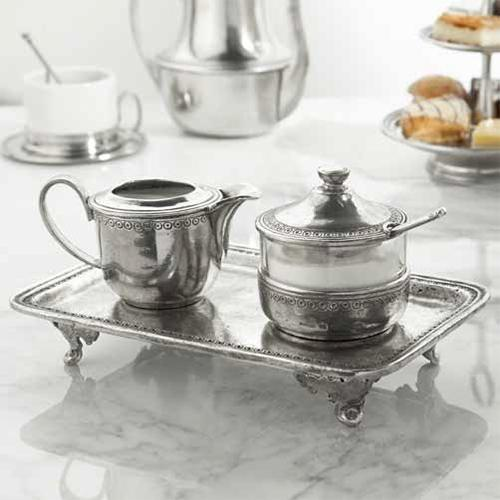 Anna Caffe Pewter Creamer and Sugar Set by Arte Italica