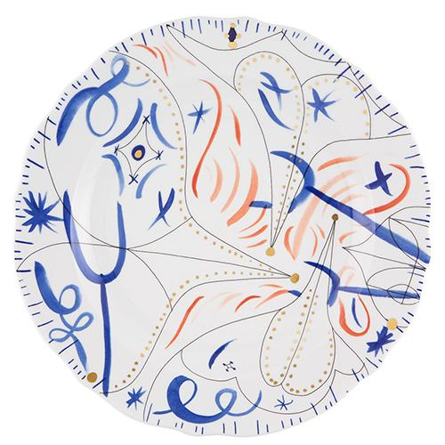 Folkifunki Charger Plate, Blue by Jaime Hayon for Vista Alegre