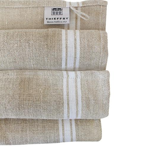 French Monogramme Linen Dish Towel by Thieffry Freres & Cie White