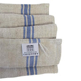 French Monogramme Striped Border Linen Dish Towel by Thieffry Freres & Cie