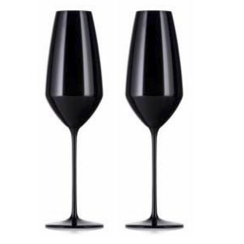 Expert Y Champagne Glasses, Black, Set of 2 by Rogaska 1665