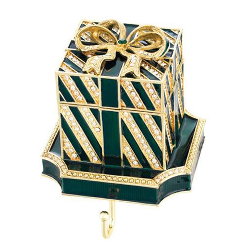 Christmas Green Gift Box Stocking Holder by Olivia Riegel