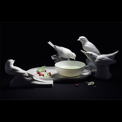 Porcelain Leaves Set, 15 Pieces by Nymphenburg Porcelain