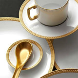 Soie Tressee Gold Espresso Cup & Saucer, Set of 6 by L'Objet