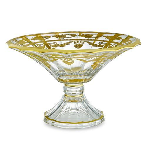 "Vetro 13.25""D Gold Scalloped Footed Bowl by Arte Italica"