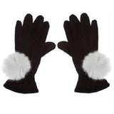 Faux Fur PomPom Gloves by Evelyne Prelonge Paris