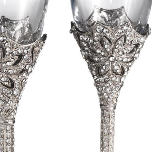 Windsor Champagne Flute Two Piece Set, Silver by Olivia Riegel