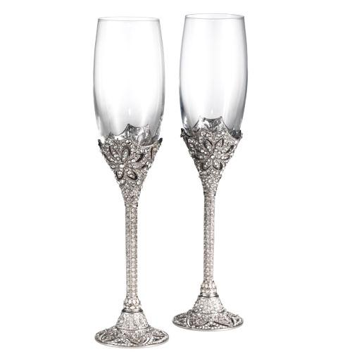 Windsor Champagne Flute Silver Two Piece Set, Silver by Olivia Riegel