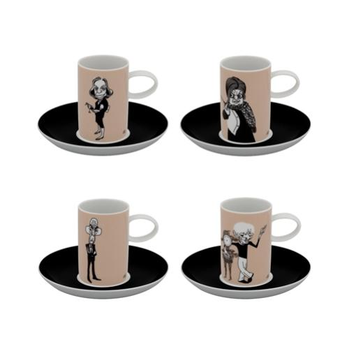 A Viagem Writers Set of 4 Coffee Cups and Saucers by Vista Alegre