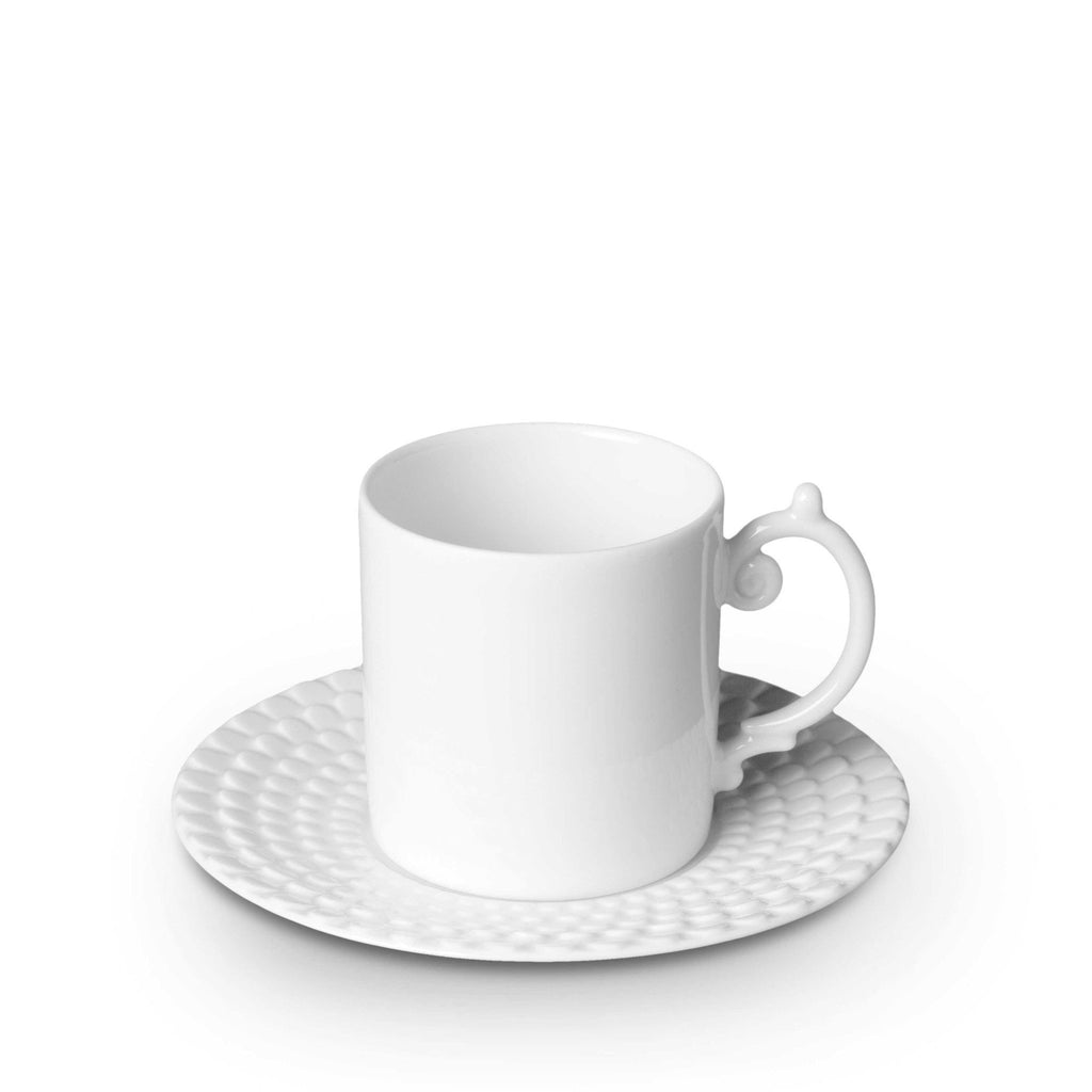 Aegean White Espresso Cup & Saucer by L'Objet