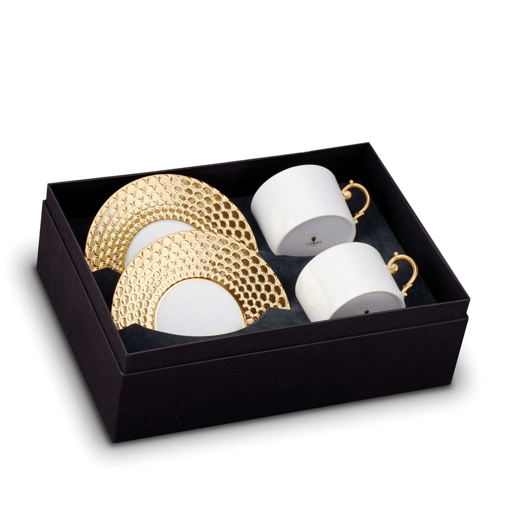 Aegean Gold Tea Cup & Saucer, Gift Boxed Set of 2 by L'Objet