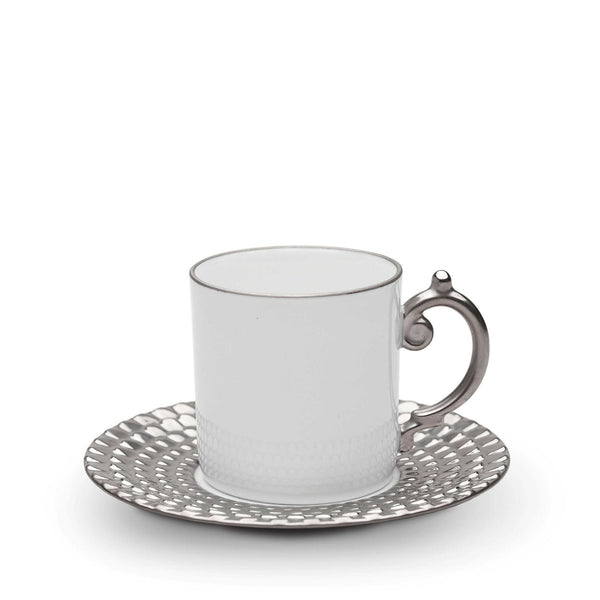 Aegean Platinum Espresso Cup & Saucer, set of 6 by L'Objet