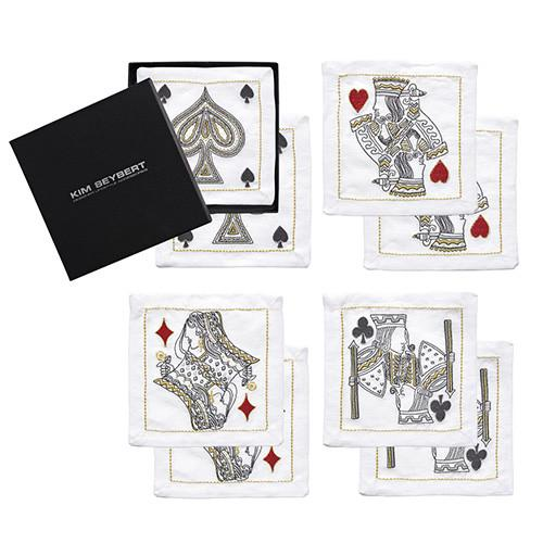 House of Playing Cards Cocktail Napkins, set of 8 by Kim Seybert