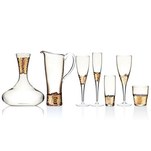 Gold Paillette Champagne Flute, set of 4 by Kim Seybert