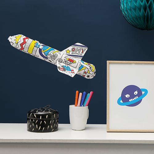 Toy Rocket 'Inflatable' Paper COLOR ME Toy by Omy France