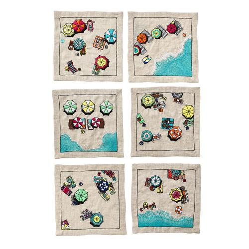 Beach Day Cocktail Napkins, Set of 6 by Kim Seybert