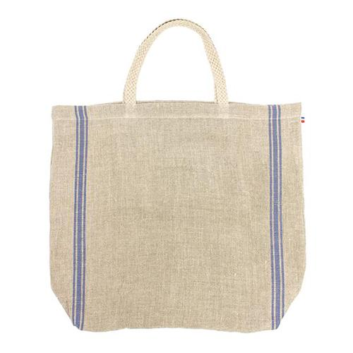 Monogramme Blue Linen Beach Tote with Braided Handle and Inner Zipper Pocket by Thieffry Freres & Cie