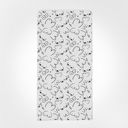 Boobs Terry Bath Towel by Twisted Wares