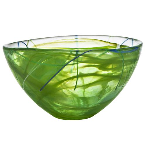 "Contrast 9"" Lime Green Bowl by Anna Ehrner for Kosta Boda"