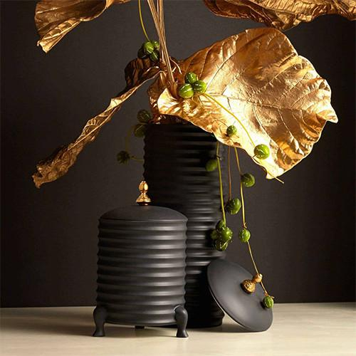 Han Canister Bowl with Lid, Black by L'Objet