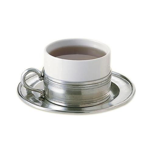 Cappuccino Cup with Saucer by Match Pewter