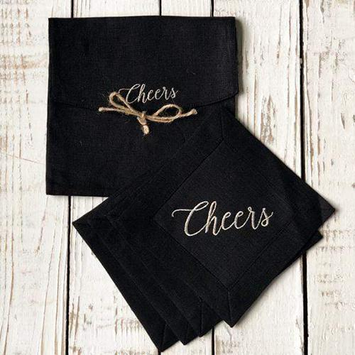 Cheers Cocktail Napkins, Set of 4 by Crown Linen Designs