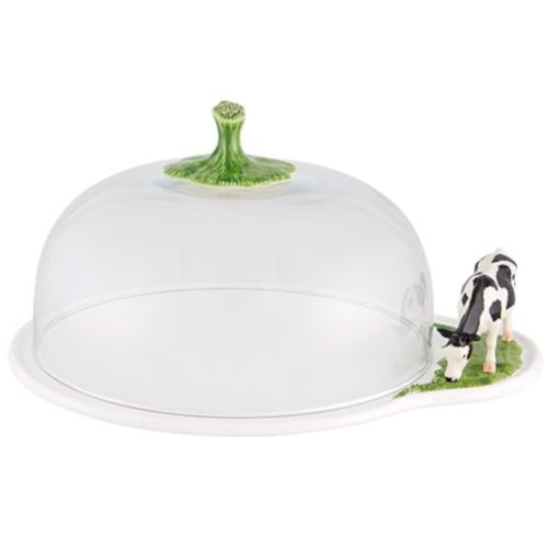 Meadow Cheese Tray with Glass Bell by Bordallo Pinheiro