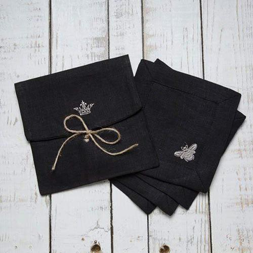 Embroidered Bumble Bee Cocktail Napkin, 6