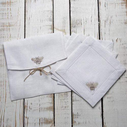 "Embroidered Bumble Bee Cocktail Napkin, 6"", set of 4 by Crown Linen Designs"