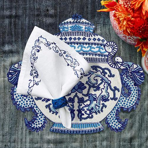 Ming Border Napkin, White/Navy, set of 4 by Kim Seybert