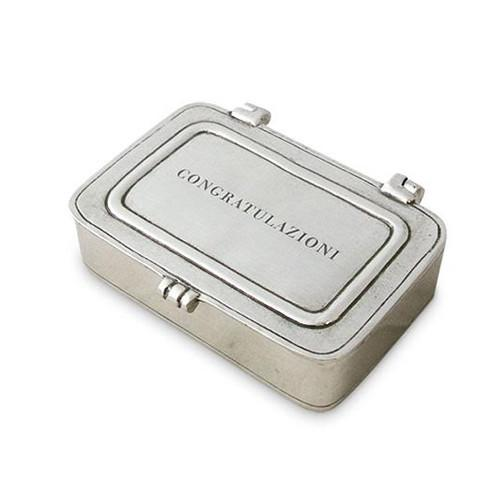 """Congratulazioni"" Congratulations Box by Match Pewter"