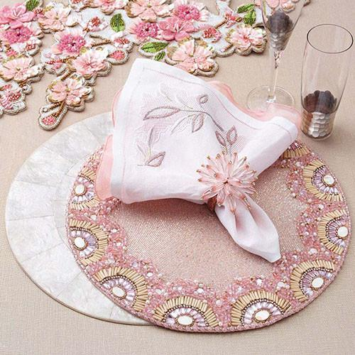 Constellation Napkin Ring with light pink beads in matching place setting